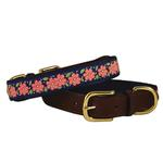 View Image 1 of American Traditions Leather and Ribbon Dog Collar - Pink Garden
