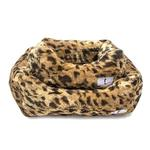 View Image 1 of Animal Print Luxe Dog Bed by Hello Doggie - King Leopard