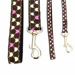 View Image 2 of Argyle Hearts Dog Leash - Brown