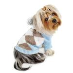 View Image 2 of Argyle Pattern Hoodie Dog Sweater from Klippo - Light Blue