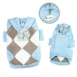 View Image 1 of Argyle Pattern Hoodie Dog Sweater from Klippo - Light Blue