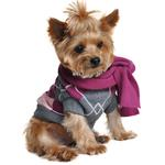 View Image 1 of Argyle Purple Dog Sweater with Scarf by Doggie Design