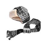 View Image 1 of My Canine Kids Aviator Hat and Scarf Set for Dogs - Black Plaid