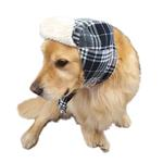 View Image 2 of My Canine Kids Aviator Hat and Scarf Set for Dogs - Black Plaid