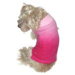 View Image 1 of Beverly Hills Luxury Sparkle Dog Sweater by The Dog Squad -  Fuchsia Dip Dye