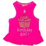 View Image 1 of Birthday Girl Cupcake Rhinestone Dog Dress - Raspberry Pink