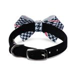 View Image 2 of Classic Glen Houndstooth Nouveau Bow Luxury Dog Collar by Susan Lanci - Black