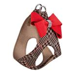 View Image 2 of Chocolate Glen Houndstooth Red Nouveau Bow Step-In Dog Harness by Susan Lanci