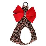 View Image 1 of Chocolate Glen Houndstooth Red Nouveau Bow Step-In Dog Harness by Susan Lanci