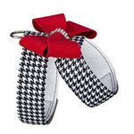 View Image 2 of Black and White Houndstooth Red Nouveau Bow Tinkie Dog Harness by Susan Lanci