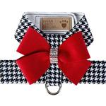 View Image 1 of Black and White Houndstooth Red Nouveau Bow Tinkie Dog Harness by Susan Lanci