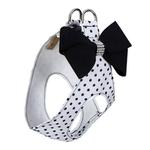 View Image 2 of Black & White Nouveau Bow Polka Dot Step-In Dog Harness by Susan Lanci - Black Bow