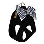 View Image 2 of Black & White Houndstooth Nouveau Bow Step-In Dog Harness by Susan Lanci - Black