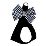 View Image 1 of Black & White Houndstooth Nouveau Bow Step-In Dog Harness by Susan Lanci - Black