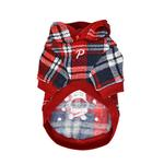 View Image 3 of Blitzen Hooded Dog Shirt by Puppia - Checkered Red