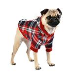 View Image 2 of Blitzen Hooded Dog Shirt by Puppia - Checkered Red