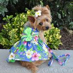 View Image 1 of Blue Lagoon Hawaiian Hibiscus Dog Dress with Matching Leash by Doggie Design