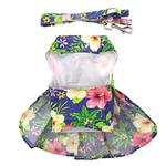 View Image 4 of Blue Lagoon Hawaiian Hibiscus Dog Dress with Matching Leash by Doggie Design