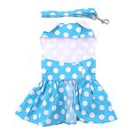 View Image 3 of Blue Polka Dot Dog Dress with Matching Leash by Doggie Design