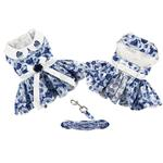 View Image 3 of Blue Rose Dog Harness Dress with Matching Leash by Doggie Design