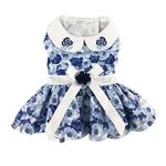 View Image 1 of Blue Rose Dog Harness Dress with Matching Leash by Doggie Design