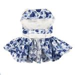 View Image 2 of Blue Rose Dog Harness Dress with Matching Leash by Doggie Design