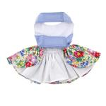 View Image 2 of Powder Blue and Pearls Floral Dog Harness Dress by Doggie Design