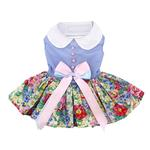 View Image 1 of Powder Blue and Pearls Floral Dog Harness Dress by Doggie Design