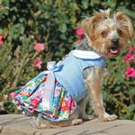 View Image 3 of Powder Blue and Pearls Floral Dog Harness Dress by Doggie Design