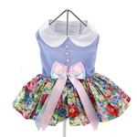 View Image 4 of Powder Blue and Pearls Floral Dog Harness Dress by Doggie Design