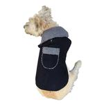 View Image 1 of Boho Faux Suede Shearling Dog Coat - Black