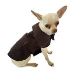 View Image 1 of Boho Faux Suede Shearling Dog Coat - Chocolate