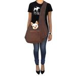 View Image 2 of Boho Faux Suede Shearling Dog Sling - Chocolate