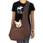 View Image 1 of Boho Faux Suede Shearling Dog Sling - Chocolate