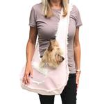 View Image 2 of Boho Faux Suede Shearling Dog Sling - Light Pink