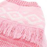 View Image 6 of Boho Fringe Dog Sweater by Dogo - Pink