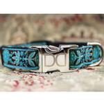 View Image 2 of Boho Peacock Dog Collar and Leash Set by Diva Dog