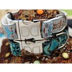 View Image 3 of Boho Peacock Dog Collar and Leash Set by Diva Dog