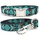 View Image 1 of Boho Peacock Dog Collar and Leash Set by Diva Dog
