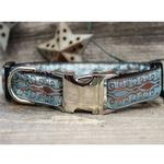 View Image 2 of Calligraphy Blue Dog Collar and Leash Set by Diva Dog