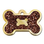 View Image 1 of Bone Large Engravable Pet I.D. Tag - Gold and Bronze Glitter