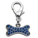 View Image 1 of Bone Shaped Crystal Dog Collar Charm - Blue