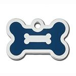 View Image 1 of Bone Small Engravable Pet I.D. Tag - Chrome and Navy Blue