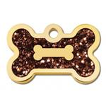 View Image 1 of Bone Small Engravable Pet I.D. Tag - Gold and Bronze Glitter