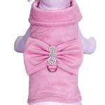 View Image 1 of BowWow Bow Dog Harness Jacket with Leash by Cha-Cha Couture - Pink