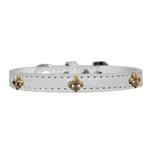 View Image 1 of Bronze Fleur De Lis Widget Croc Dog Collar - White