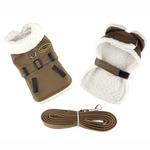 View Image 1 of Brown and Black Faux Leather Bomber Dog Coat Harness and Leash by Doggie Design