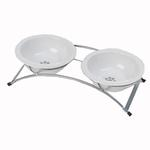 View Image 1 of Buddy's Best Feeder Pet Diner Set - White and Silver