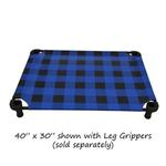 View Image 3 of Buffalo Check Premium Weave Dog Cot - Blue and Black