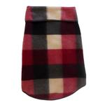 View Image 1 of Buffalo Plaid Hooded Dog Pullover - Black and Burgundy